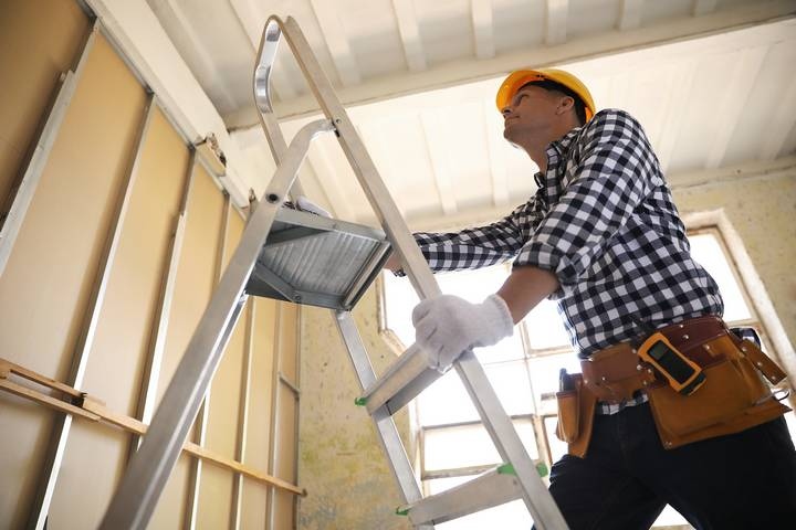 Adhere to extension ladder safety.
