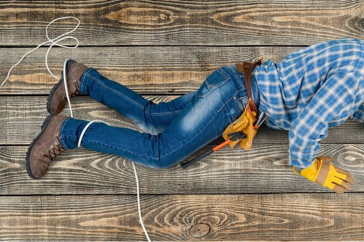 Take precaution against the slip and fall hazards for construction workers.